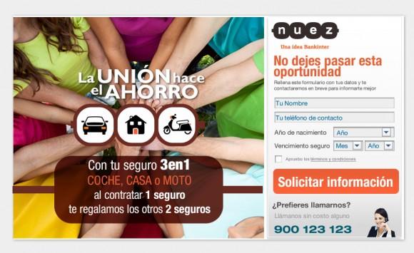 Diseño y Desarrollo de la landing page para la campaña online de captación de leads de SEGUROS NUEZ