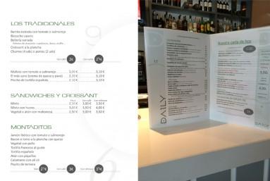 diseño gráfico y look del local y de las cartas del menú de la cadena de restaurantes DAILY