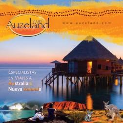 Folleto publicitario para Auzeland agencia de viajes