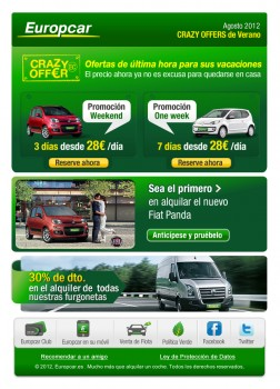 conceptualización creativa para campañas de banners & emailings y comunicación digital para Europcar