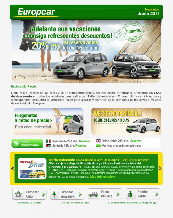 conceptualización creativa para campañas de banners & newsletters y comunicación digital para Europcar