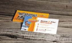 diseño de tarjetas de visita para la marca Auzeland agencia de viajes