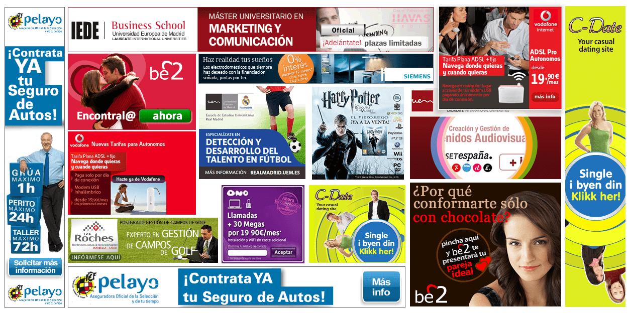 diseño, animación y produccion de banners para campañas de display sem en html5, flash y Richmedia
