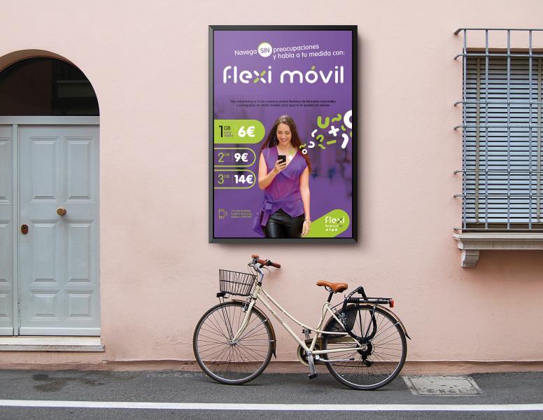 Cartelera y lanzamiento de campaña publicitaria de la marca FlexiMovil de Brandesign agencia de Branding y creatividad