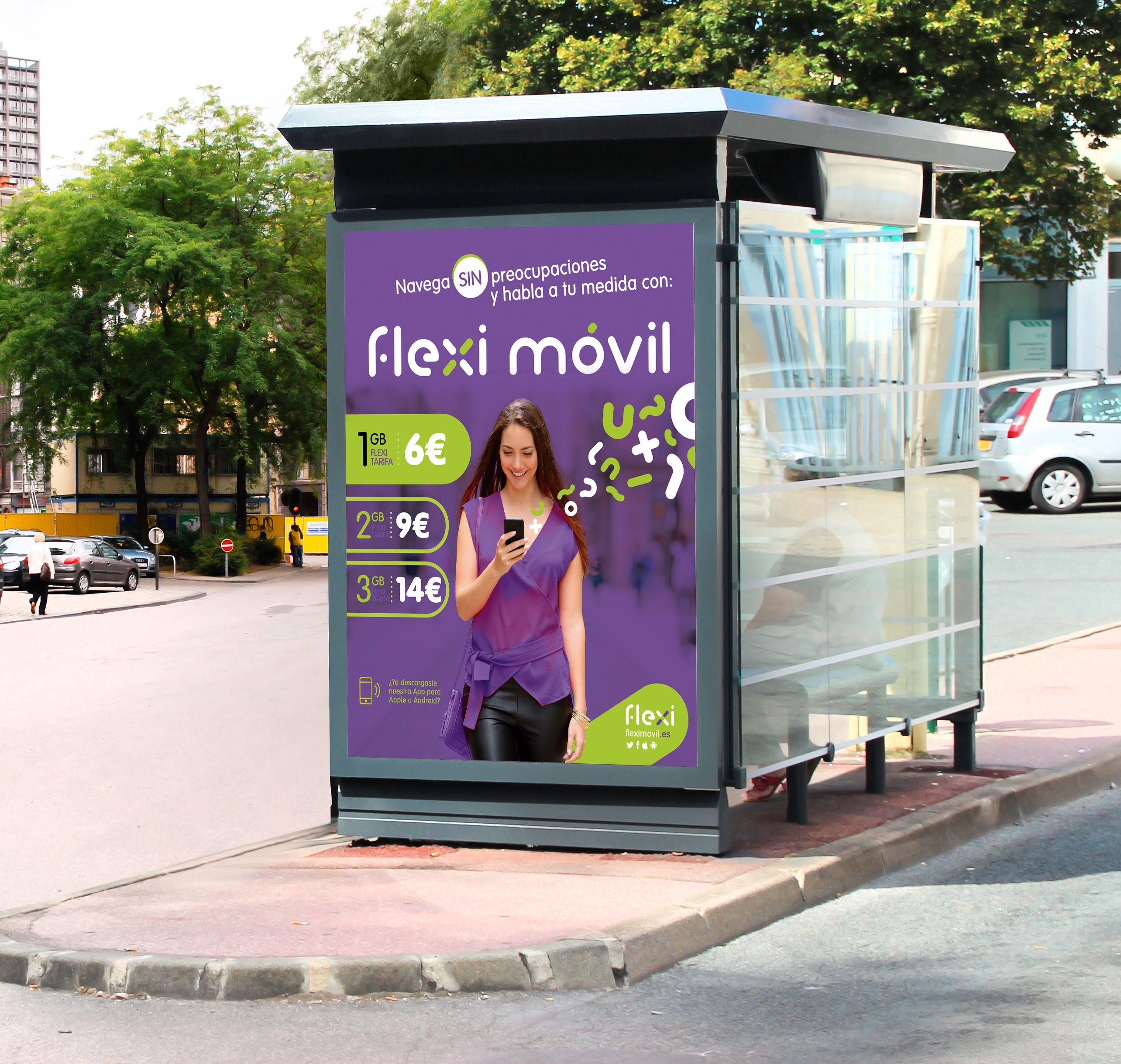 Cartel para el lanzamiento de Flexi Moviel la nueva marca de operador movil
