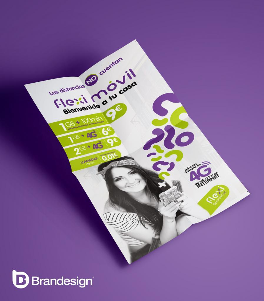 Diseño de flyer o volante para el lanzamiento de la marca fleximovil Brandesign agencia creativa madrid