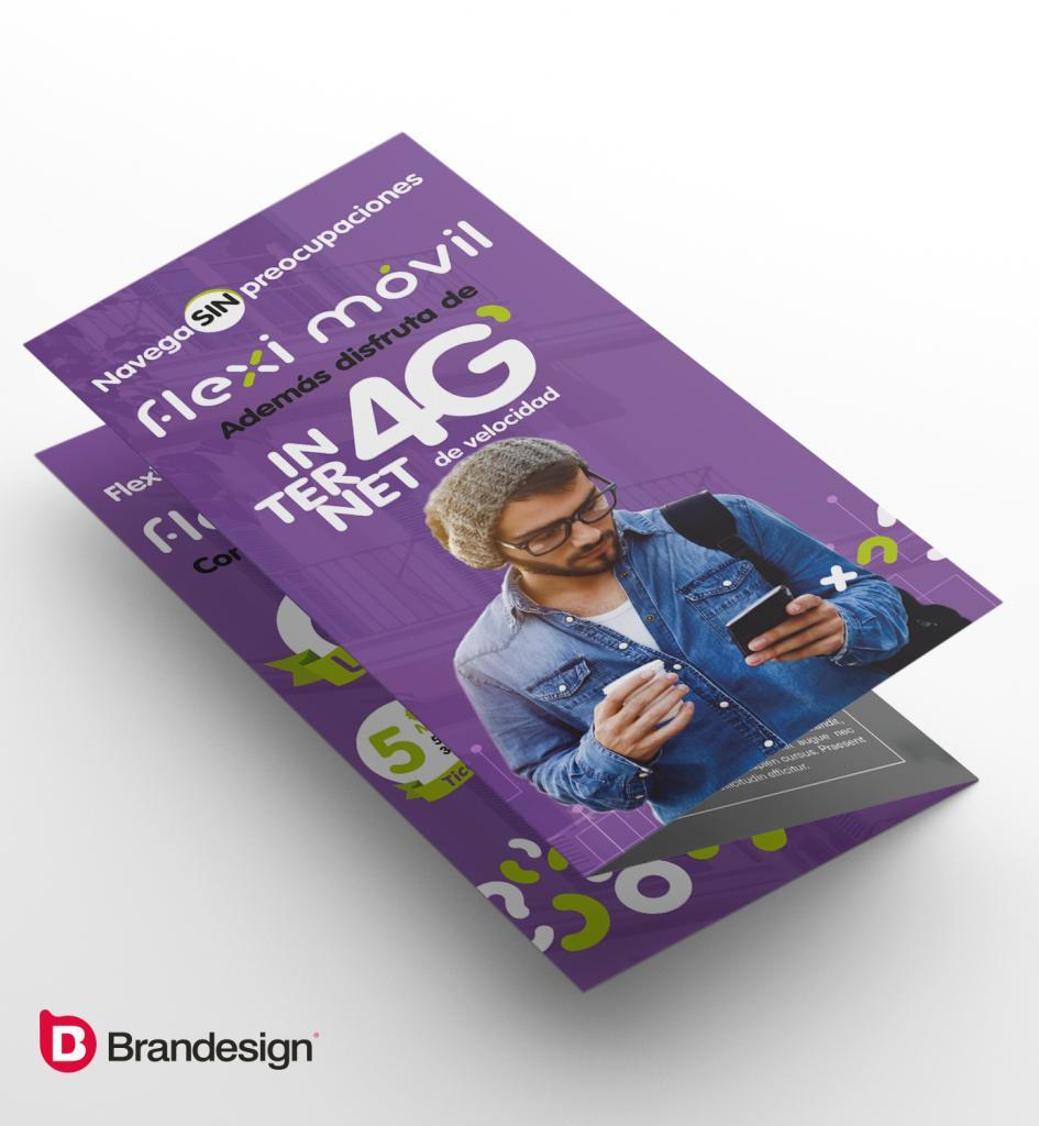 Diseño de tríptico material publicitario para lanzamiento de marca Brandesign agencia de branding