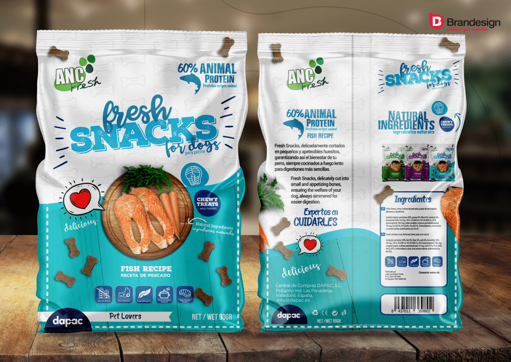 Diseño de bolsa empaque packaging label etiqueta producto FMCG snacks Brandesign