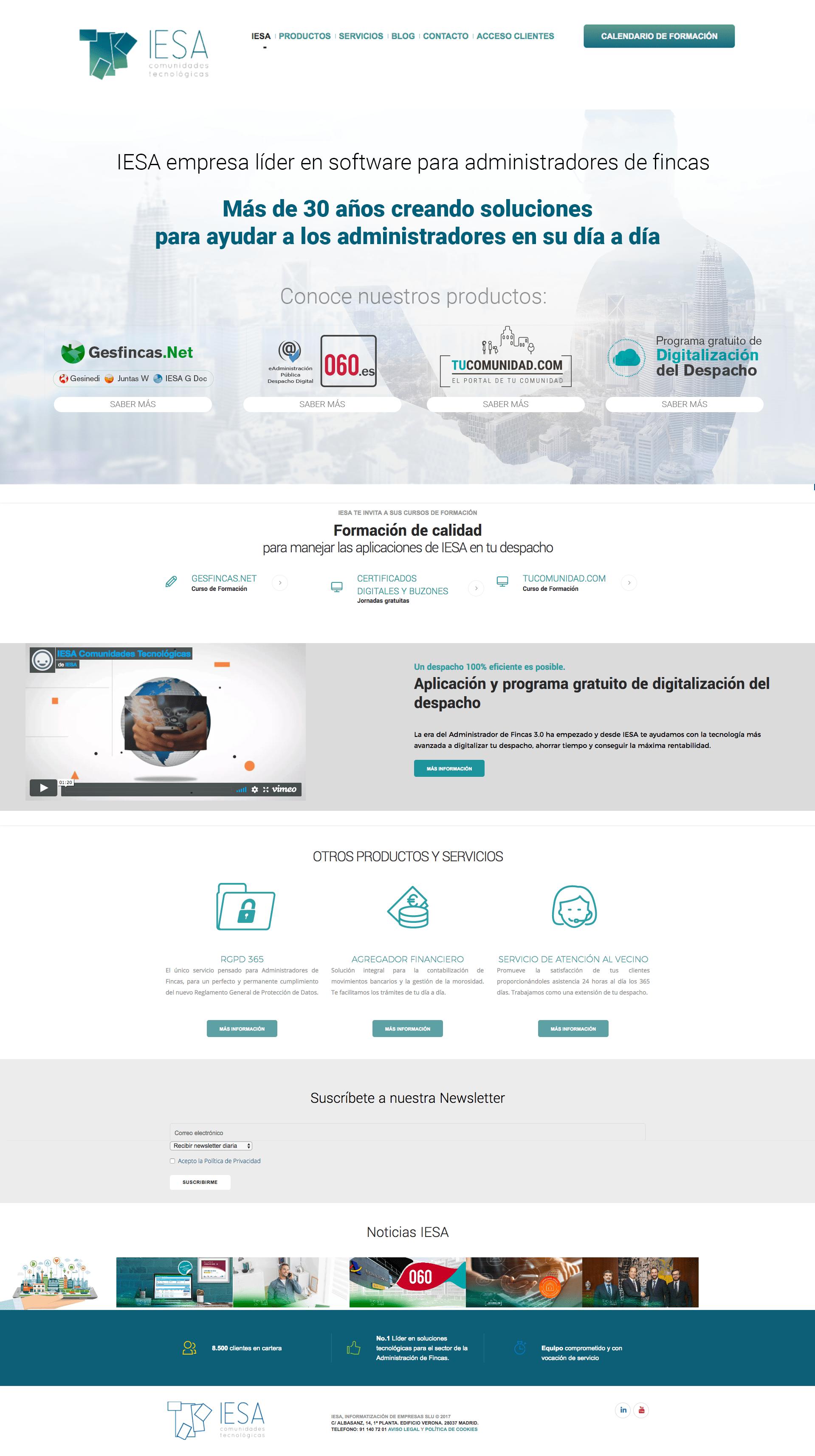 Diseño de la página web de IESA