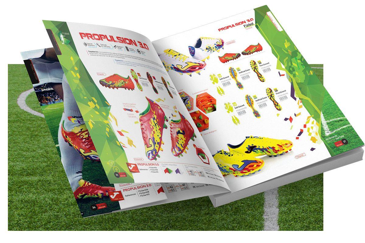 Diseño grafico del catalogo de productos marca joma deporte zapatillas brand design