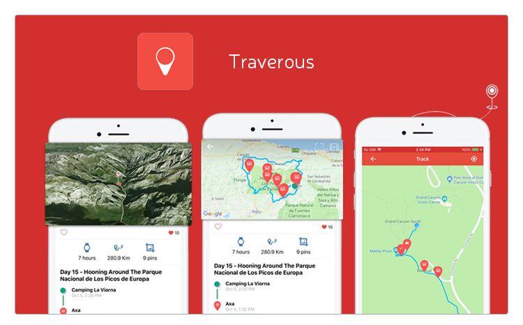 Traverous crea rutas y puedes subir fotos, videos que puedes grabar mientras haces la ruta y subirlo a tu perfil,