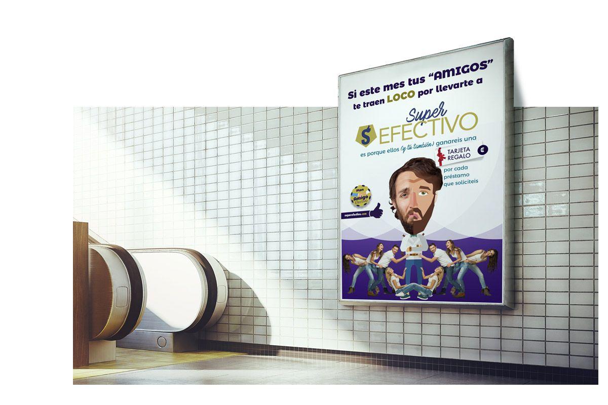 Cartel anuncio para Metro de madrid Super efectivo