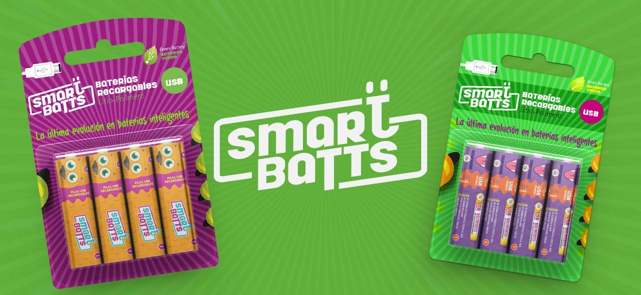 Diseño gráfico SmartBatts etiquetas para pilas y baterías inteligentes