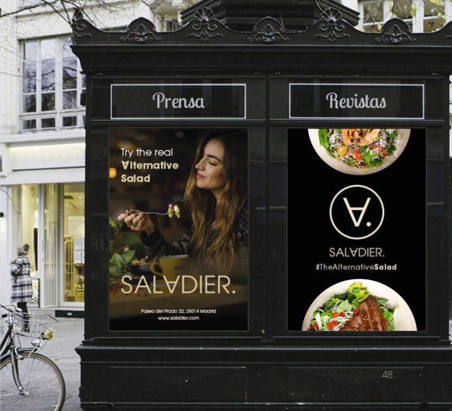 Aplicativos de la marca de restaurante madrid saladier identidad corporativa elegante
