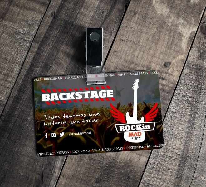Diseño de la credencial del evento concierto rockinmad