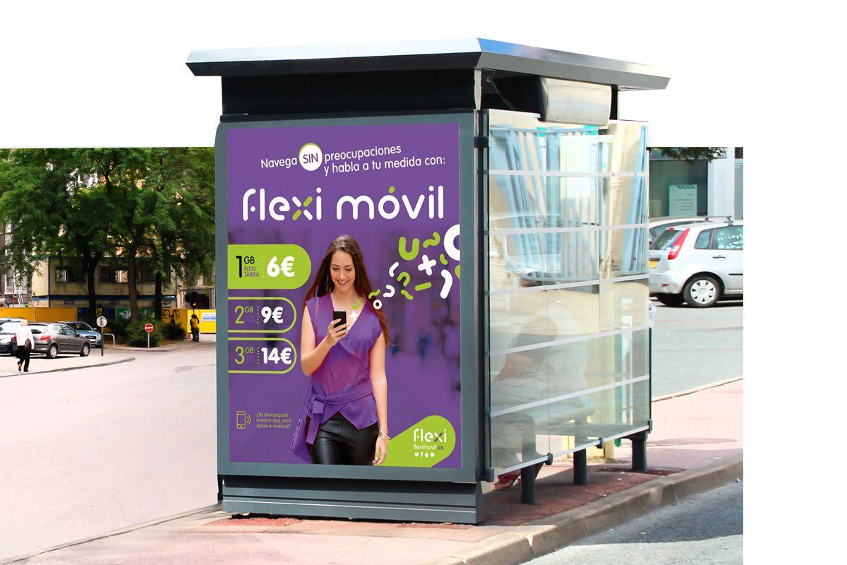Diseño grafico de Mupi y cartelera de publicidad para la marca FlexiMovil brandesign