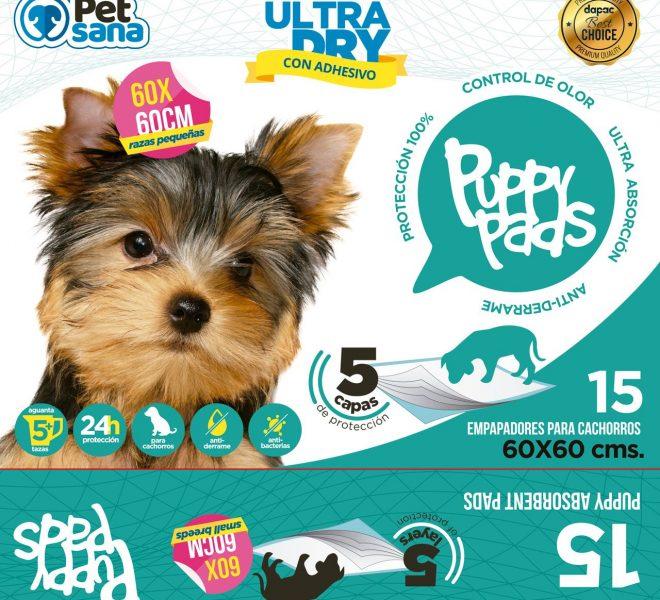 Diseño de la cara frontal del packaging saco de Petsana Puppy Pads
