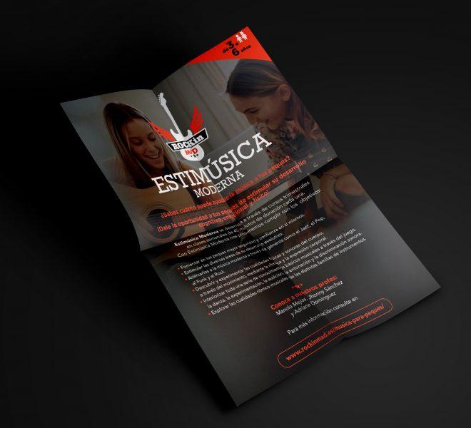 Diseño de flyer para publicidad escuela de música rock in madrid agencia creativa