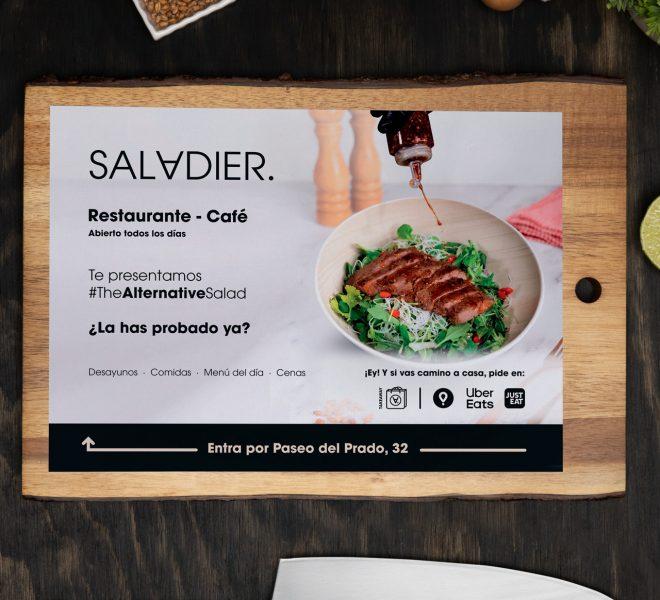 Flyer de publicidad para apertura del restaurante saladier