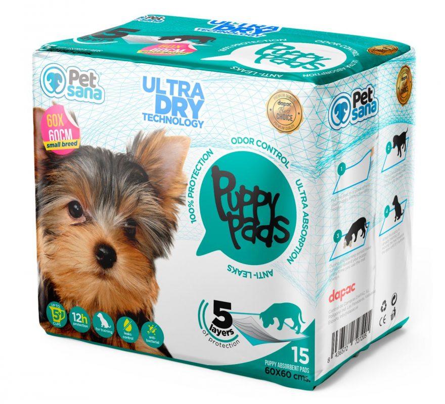 Mockup digital ficticio de producto para diseño de packaging Petsana Dog Care
