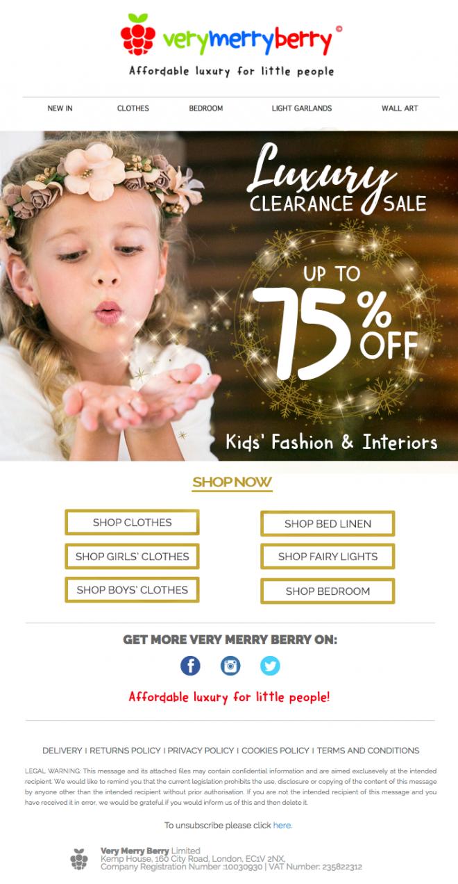 Ejemplo de newsletter para tienda online fashion kids campaña mailchimp