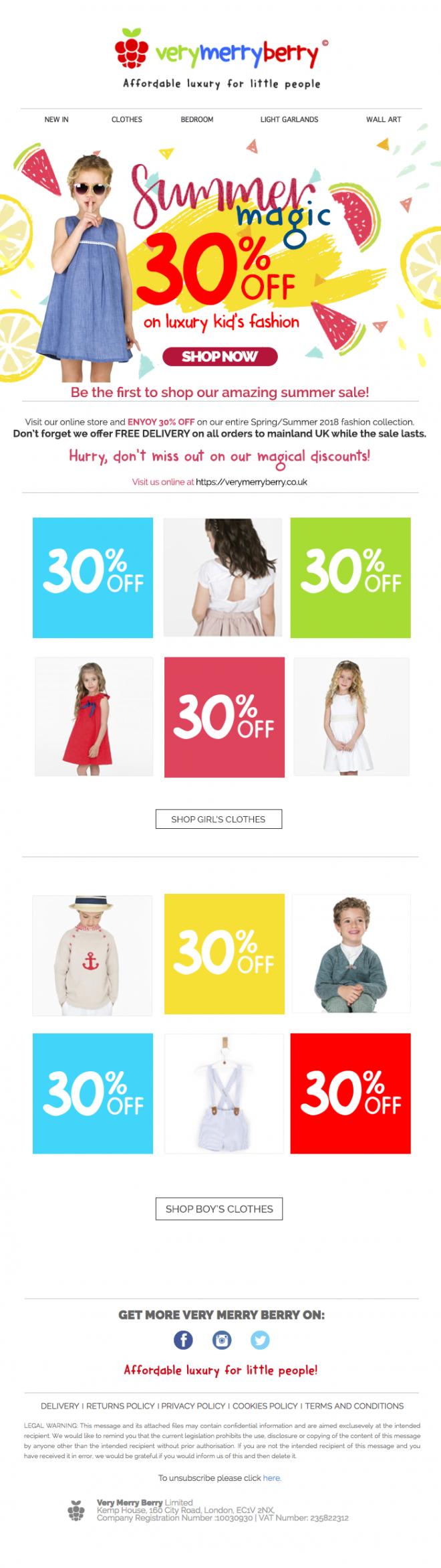 Newsletter email marketing campaign para tiendas online ecommerce